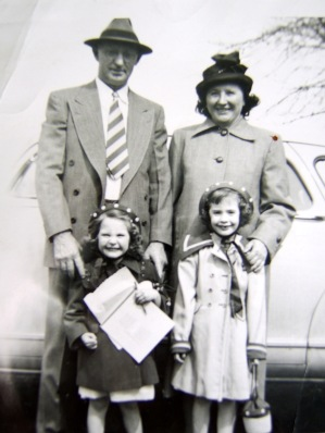Matthew and Anna Paytas with Elliott Granddaughters Lois and Carol, Easter Sunday 1953.