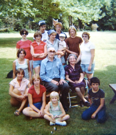 Back row (left to right): Dale and Scott Campbell (Scott is the redhead). 3rd row: Lois Elliott, Robin Whitmore, Becky Paytas, Paul Brown (in Becky's arms), Gary Whitmore (with the long blond hair) and Carol Brown. 2nd row: Cindy Campbell (kneeling), Matthew and Anna Paytas (seated). Front row: Anita Paytas, Susan Whitmore, Laura Brown, Jerry Paytas.